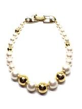 Napier Faux Pearl Gold Tone Bead Vintage Bracelet - $11.69