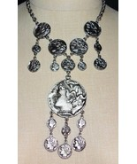 VINTAGE 1970'S Modern Trifari Ancient Greco-Roman Silver Tone Coin Necklace - $296.99