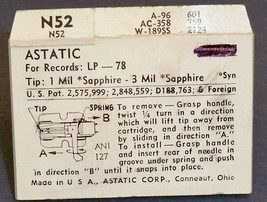 ASTATIC N52 PHONOGRAPH NEEDLE STYLUS for Astatic 445 445d 447 161-SS73 image 2
