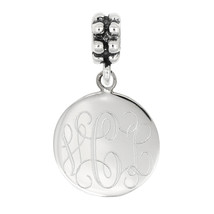 Sterling Silver Personalize Engravable Circle Round Disc BEAD CHARM - $21.49