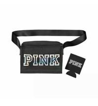 (1) NEW Victorias Secret PINK Logo Black Cooler Lunch Box Bag with Black Koozie - $19.99