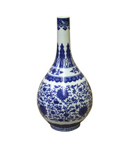 Chinese Blue White Porcelain Oriental Flower Pattern Graphic Vase cs4035 - $519.70 CAD
