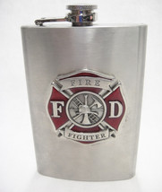Heritage Metalworks Flask Pewter & Stainless Firefighter Fire Department... - $24.74