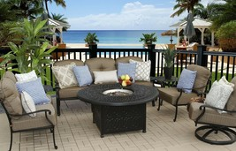 "7 PC PATIO DEEP SEATING SET 52"" ROUND FIRE PIT WITH END TABLES & SOFA an... - $4,454.01"