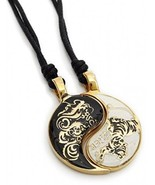 Vietguild Dragon Tiger Yin Yang Seperated (2 Necklaces) Handmade Brass N... - $35.41