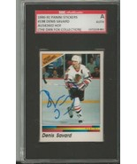 Denis Savard 1990 Panini Stickers Autograph #198 SGC Blackhawks - $55.98