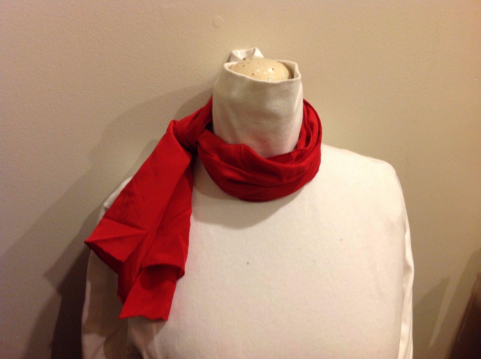 Vera 100 Silk Tout Soie Bright Red Silk Scarf