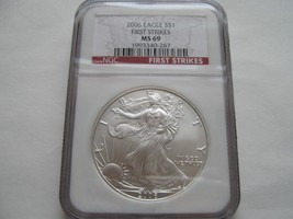 2006 , Silver Eagles , NGC , MS 69 , First Strikes , Lot of 2 Coins - $118.80