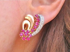 ANTIQUE RETRO .66ctw DIAMOND RUBY BRUSHED 18K HUGGIE COCKTAIL EARRINGS 1940 - $1,147.41
