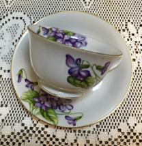 Vintage CHERRY CHINA Made in Japan PURPLE VIOLETS TEACUP & SAUCER - $9.50