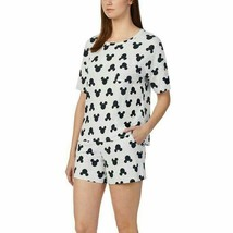 NEW Disney Women Short Pajama Set with Pockets Mickey Sleepwear Gray Med... - $19.95
