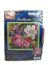 "Janlynn Lily and Roses Floral Wool Needlepoint KIT 14"" x 12"" NEW - $45.53"