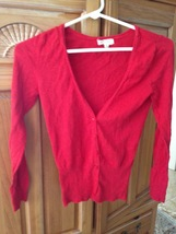 Active knit top button front deep v red junior's size small - $19.99