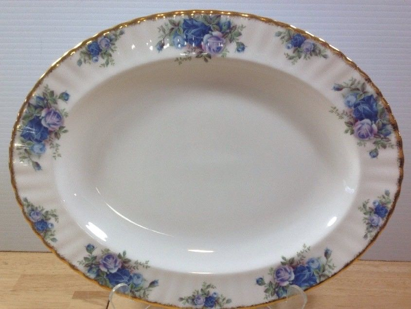 "Royal Albert Moonlight Rose 13"" Oval Serving Platter Bone China England MINT!"
