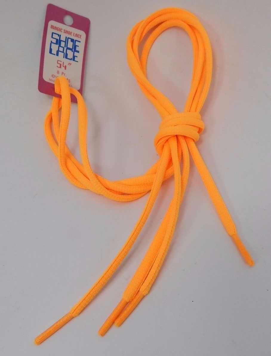 "Fluorescent Orange Round Shoe Laces 54"" inches Long Enough for 8 pair of eyelets"
