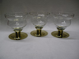 3  Homco  Etched Wheat Short Peg Votive Cup Candle Holders. - $20.99