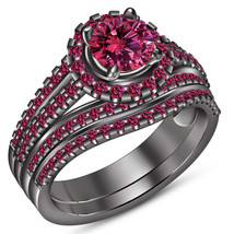 Women's Pink Sapphire Bridal Wedding Ring Set 14k Black Gold Plated 925 ... - $115.30