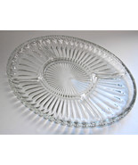 OVAL SERVING PLATTER  SECTIONAL  HEAVY 3 AVAILABLE CLEAR PRESSED GLASS I... - $32.99