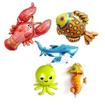 5 Pack Large Under the Sea Animal Balloons 38inch Cartoon Sea Horse Ball... - $12.62