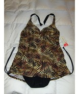 Tropical Escape Womens Swimsuit Size 18 Tiger Print Brown Black Gold NEW... - $39.99
