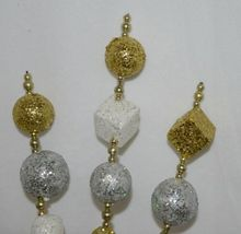 Tii Collections G1962 Gold White Silver Glitter Ball Beaded Floral Spray 25 Inch image 3