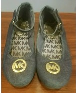 MICHAEL KORS HENRIETTA GIRL MK GOLD-TONE DENIM BALLET FLATS SLIP-ON SHOES SZ 3 - $22.49