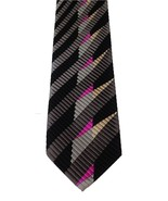 DeSantis Collection Silk Handmade Black Geometric Stripe Print Men's Nec... - $19.79