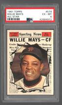 1961 Topps #579 Willie Mays All Star Giants HOF PSA 6 Ex/Mt Centered! - $125.71