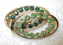 Vintage RETRO Gold Toned Brooch/Pin with Green Rhinestones - $8.95