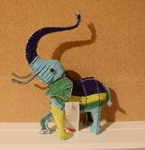 """NWT SOUTH AFRICA MASTER WIRE BEAD ELEPHANT Multi-Color 7"""" x 9""""  - $17.77"""