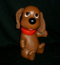 """10"""" Vintage 1982 Ideal Rub A Dog Doggie Brown Puppy Rubber Bath Toy Doggy Pup - $34.64"""