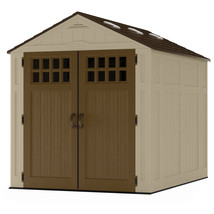 Outdoor Storage Shed 6x8Ft Patio Sturdy Double Wall Resin Wood Grain Tex... - $1,255.41