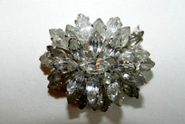 ANTIQUE 3-TIER AUSTRIAN BROOCH/PIN MARQUISE-CUT CLEAR RHINESTONES - $48.00