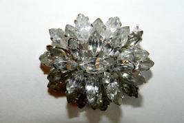 Antique 3-TIER Austrian BROOCH/PIN MARQUISE-CUT Clear Rhinestones - $48.00