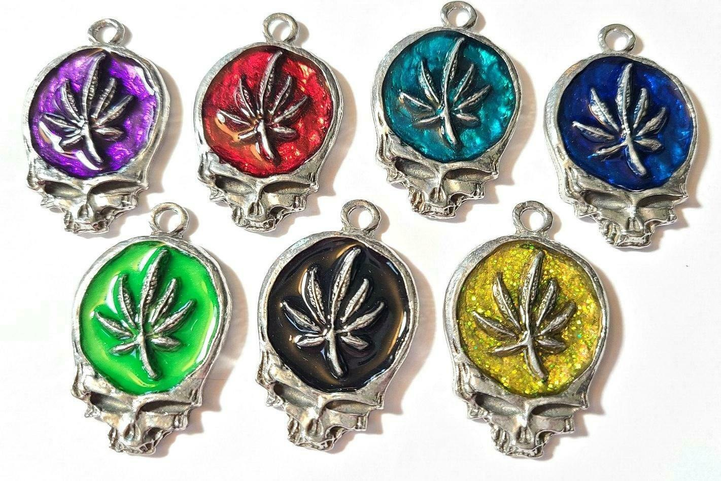 MARIJUANA LEAF SKULL Fine Pewter Pendant Approx. 1-1/2 inches wide