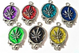 MARIJUANA LEAF SKULL Fine Pewter Pendant Approx. 1-1/2 inches wide image 1