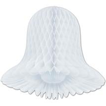 "2 honeycomb wedding anniversary bells paper decoration white 15"" dia - $9.85"