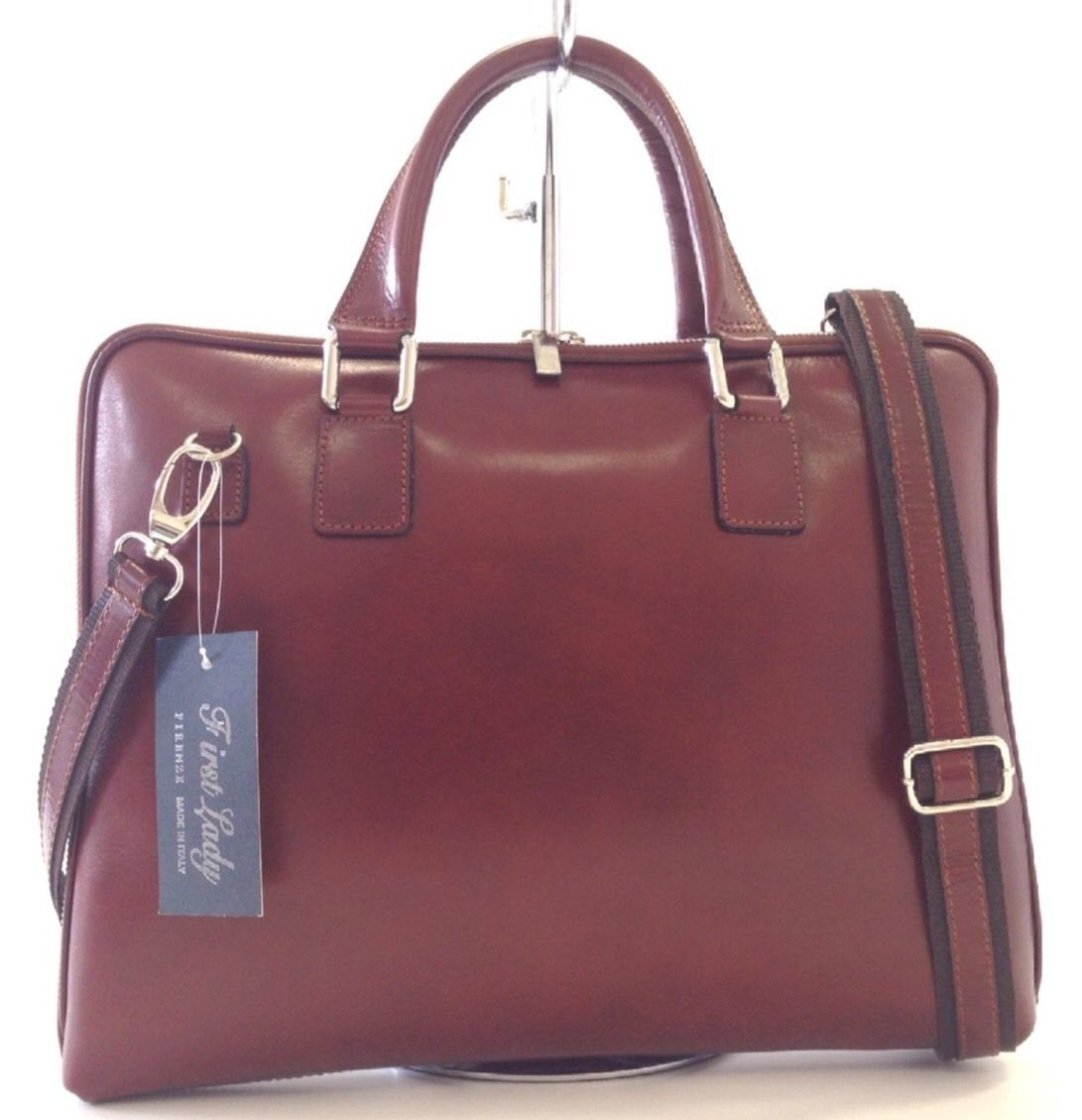NWT Made In Italy  Leather Laptop Case Briefcase In Mahogany Brown