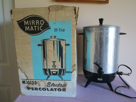 VTG MIRRO MATIC ELECTRIC PERCOLATOR, 30-CUP, M-0130, ORIGINAL BOX, INSTR... - $23.74