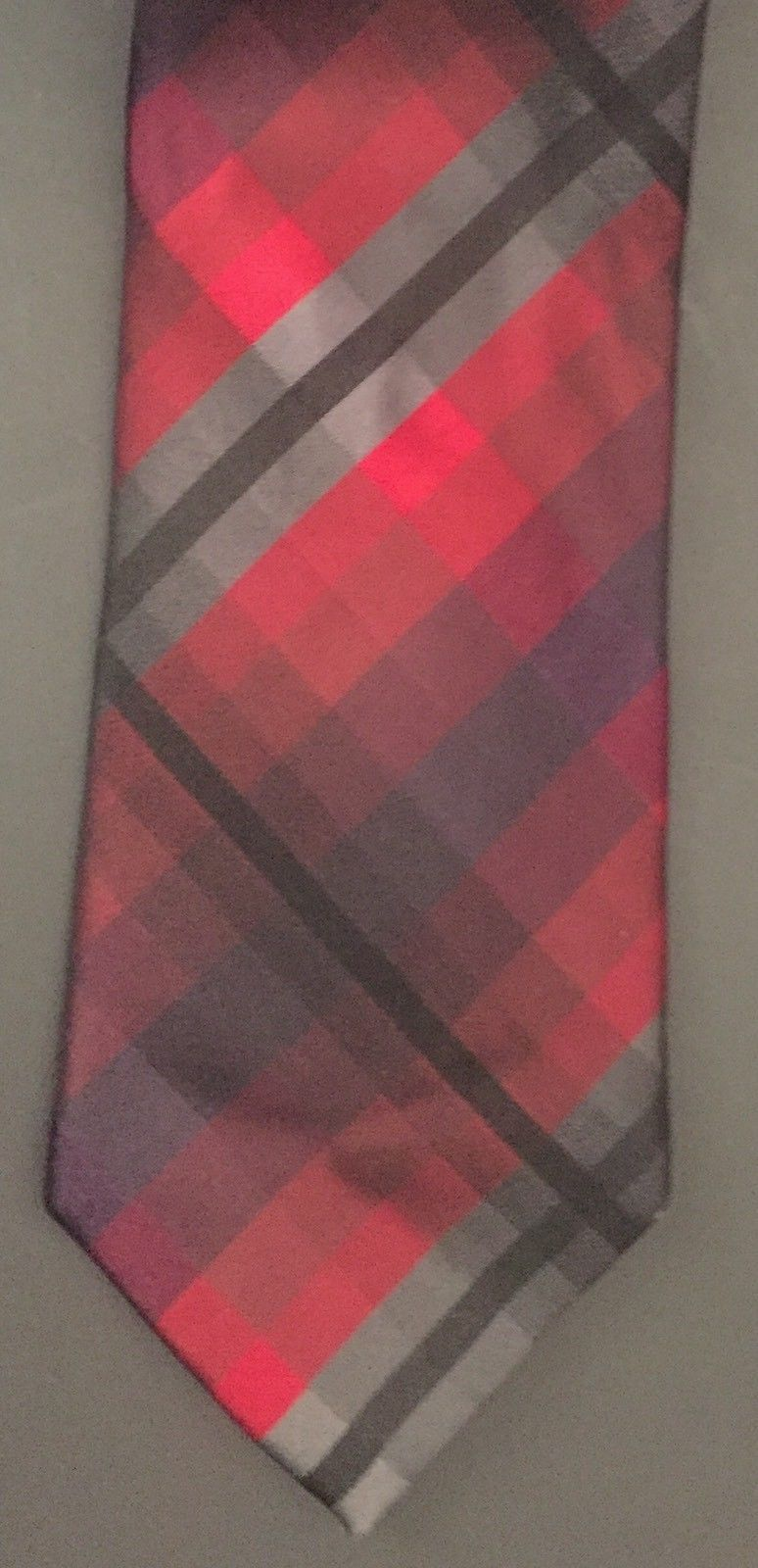 Kenneth Cole Reaction Tie Red Black Gray Cubed Plaid Preppy Necktie Neckwear image 2
