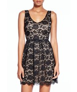 JustFab Layla A-Line Party Dress Black & Gold Lace Size M NWT!! - $39.50