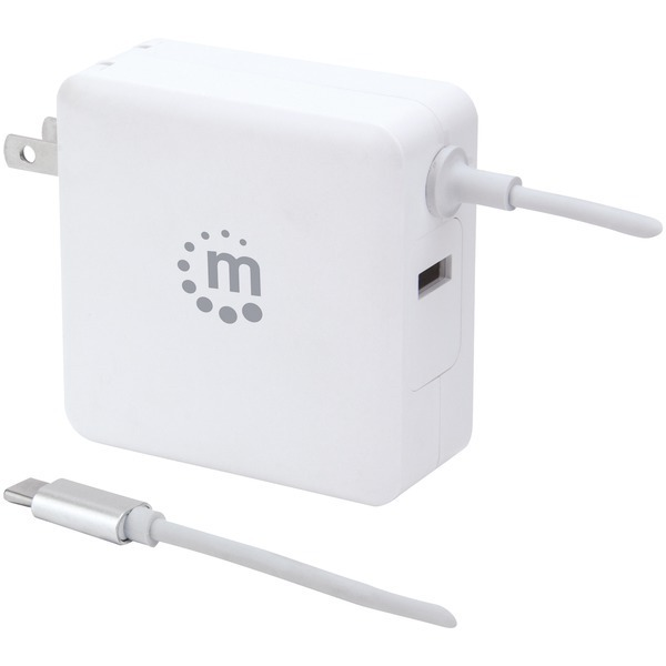 Primary image for Manhattan 180245 60-Watt Power Delivery Wall Charger with Built-in USB-C Cable (