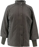 Isaac Mizrahi SOHO Mixed Quilted Coat Storm Cuffs Suit Grey 2X NEW A295810 - $55.42