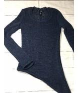 Aqua Asymmetric Blue Loose Knit Sweater Long Sleeve Stretchy Size XS - $151.25