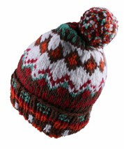 Chamula Unisex Doppel Manschette Brown Multi Merino Wolle Norweger #5 Pom Beanie image 2