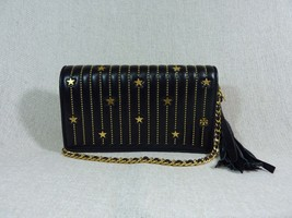 NWT Tory Burch Black Fleming Star-Stud Flat Wallet/Cross Body Bag - $343.96