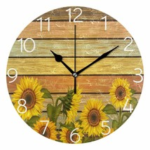 "Wall Clock 9.8"" Sunflowers Yellow Summer Wooden Style Shabby Chic Farmhouse - $49.00"
