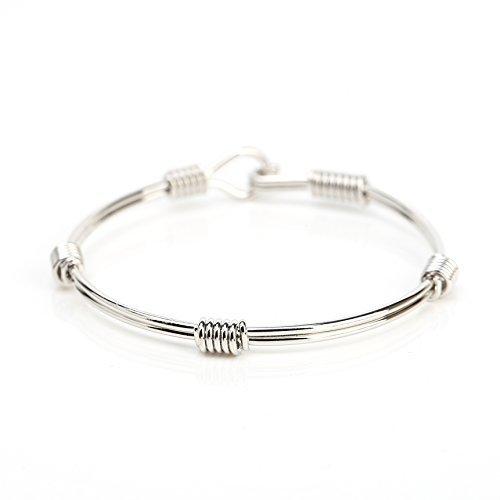 UE- Stylish Silver Tone Designer Bangle Bracelet With Contemporary Design