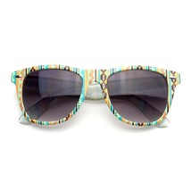 Retro Indie Fun Pattern Color Assorted Print Horned Rim Sunglasses - £4.73 GBP