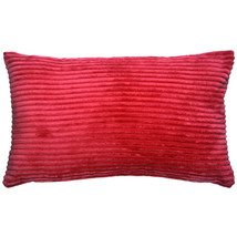 Pillow Decor - Wide Wale Corduroy 12x20 Red Throw Pillow - $29.95